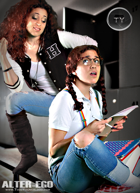 Alter Ego Photography Ideas, Nerd vs Popular School Girl