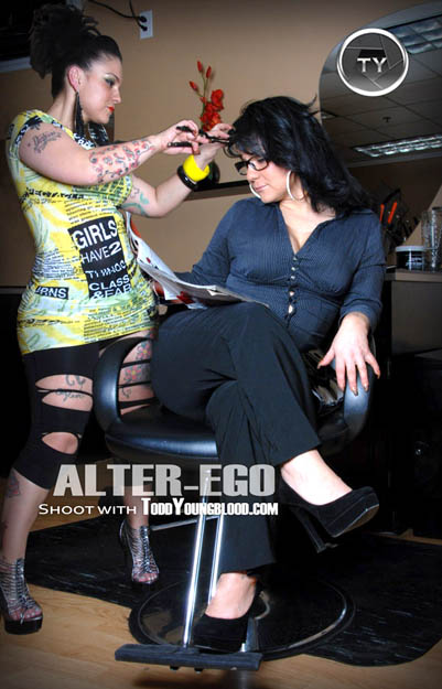Hair stylist and client alter-ego image